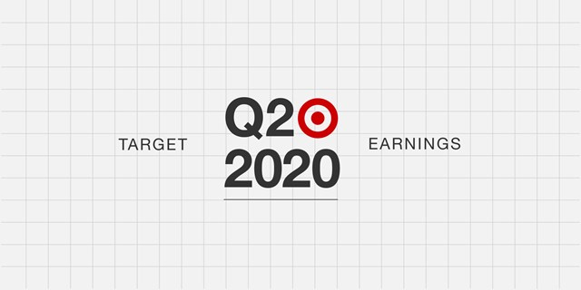 A gray grid background with red Bullseye logo and black text: Target Q2 2020 Earnings