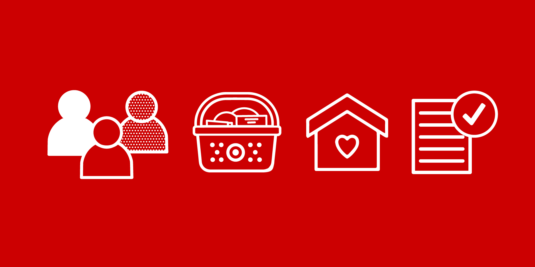 Icons against a red background of 3 team members, a Target basket, a house and a page and checkmark.