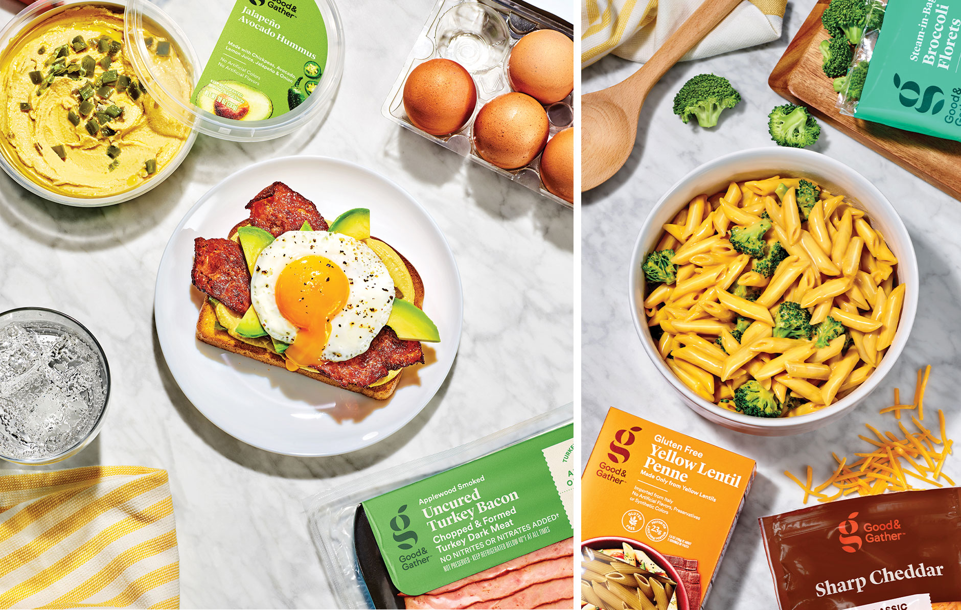 Two lifestyle images show Good and Gather products used to make a breakfast sandwich with hummus, eggs and turkey bacon and a bowl of mac n' cheese with broccoli