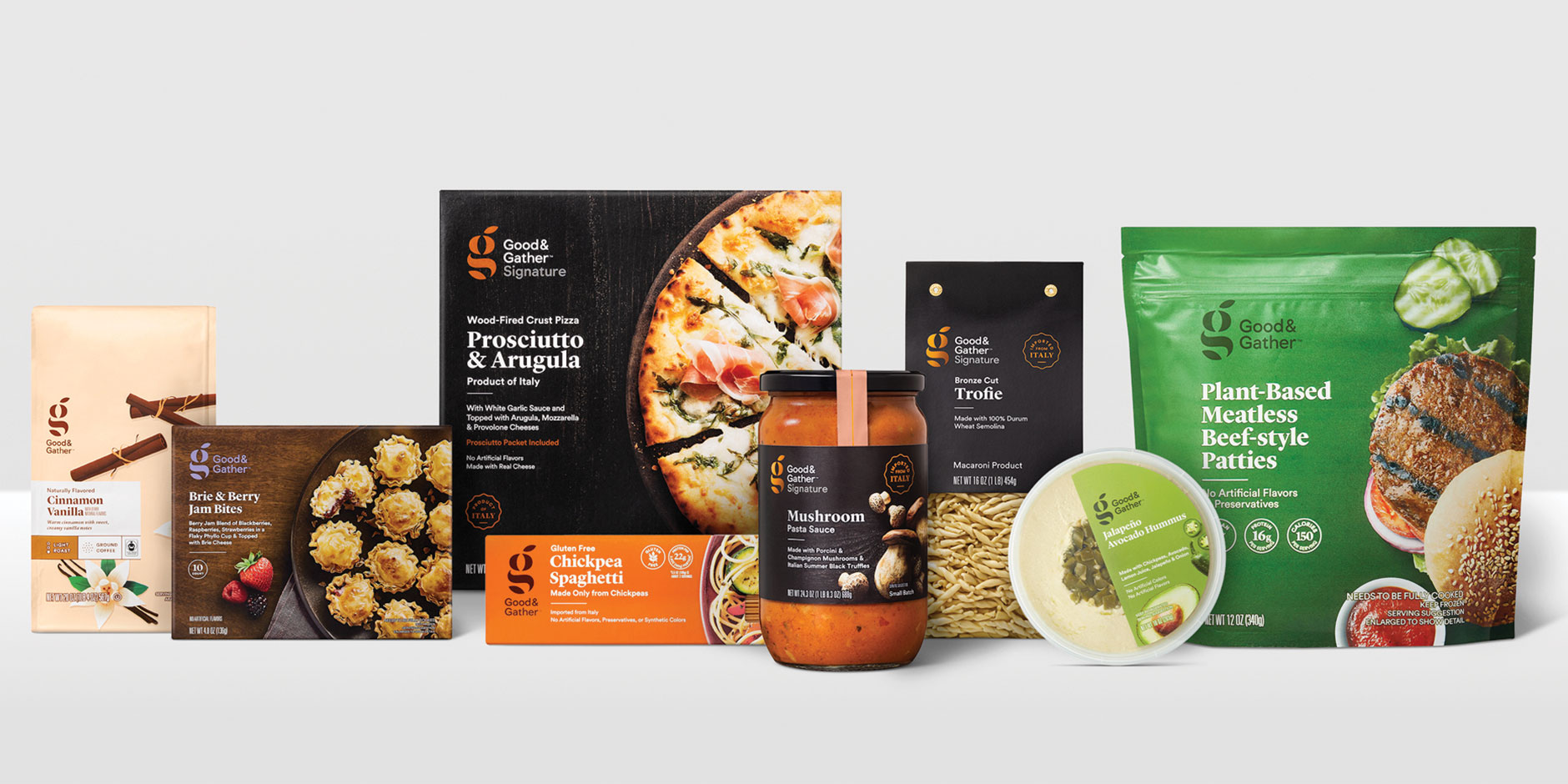 A variety of new Good and Gather products, including coffee, Brie bites, pizza, spaghetti and more