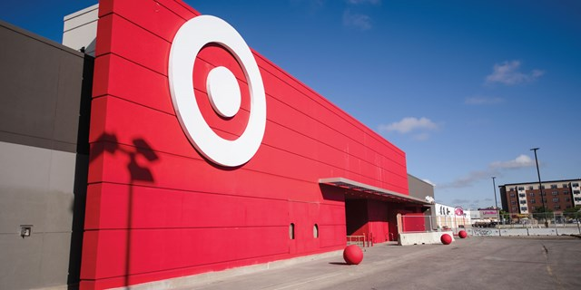 Lake Street store exterior, red siding with white bullseye