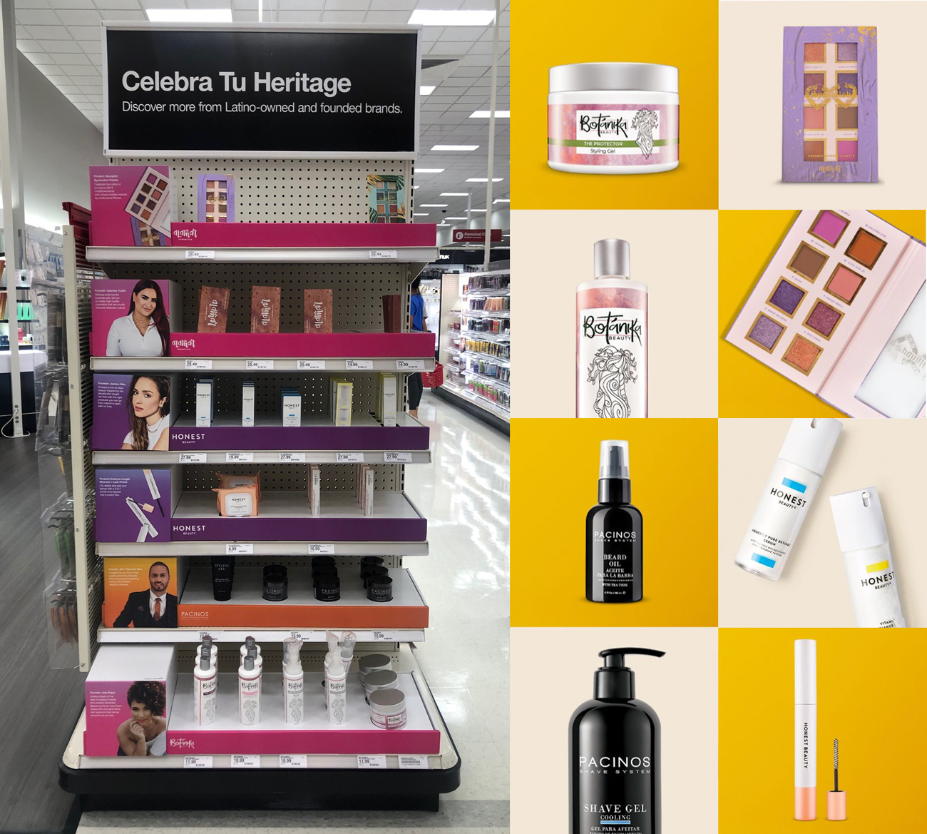 A Target store shelf holds products from Latino-owned businesses and next to it a product collage shows a close-up of packaging for Botanika Beauty and Honest Beauty, eyeshadows from Alamar Cosmetics and product bottles from Pacinos.