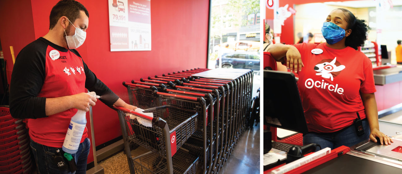 A two-photo collage featuring a man cleaning a grocery cart on the left and a woman in a face mask and red shirt standing at checkout on right.