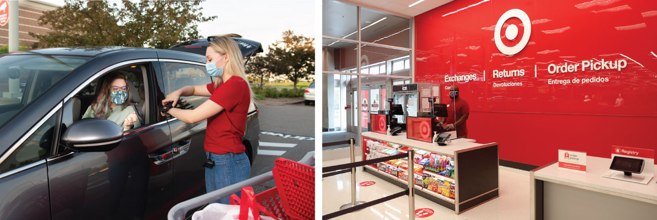 A two-photo collage featuring a woman in her car picking up her Target order from a woman in a face mask on the left and a man in a red shirt standing inside a Target store with red background on the right.