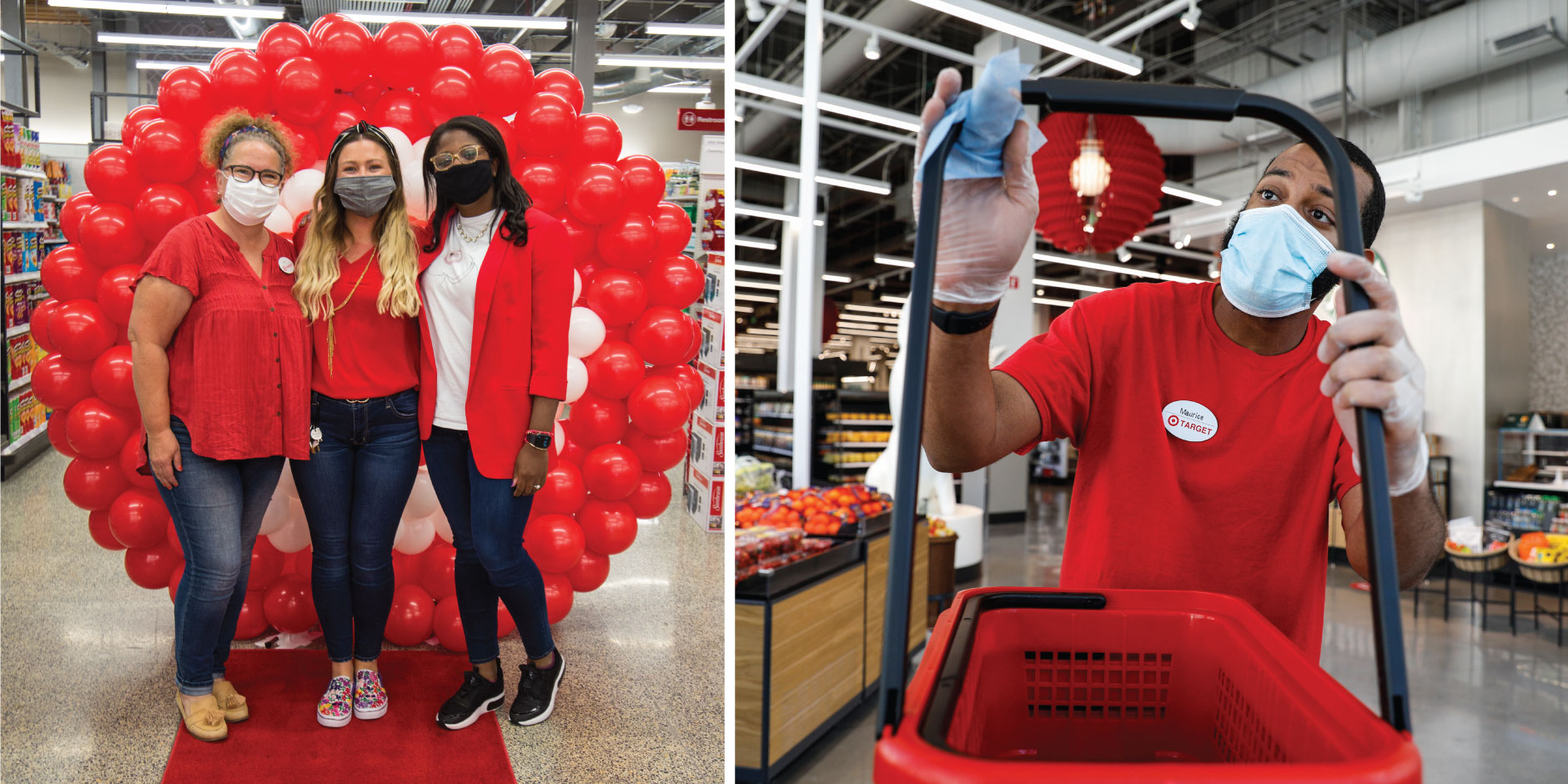 Left, three team members pose by a balloon backdrop; right, a team member in a mask cleans a basket