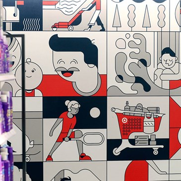 A red, black and grey mural featuring drawings of people doing various activities.