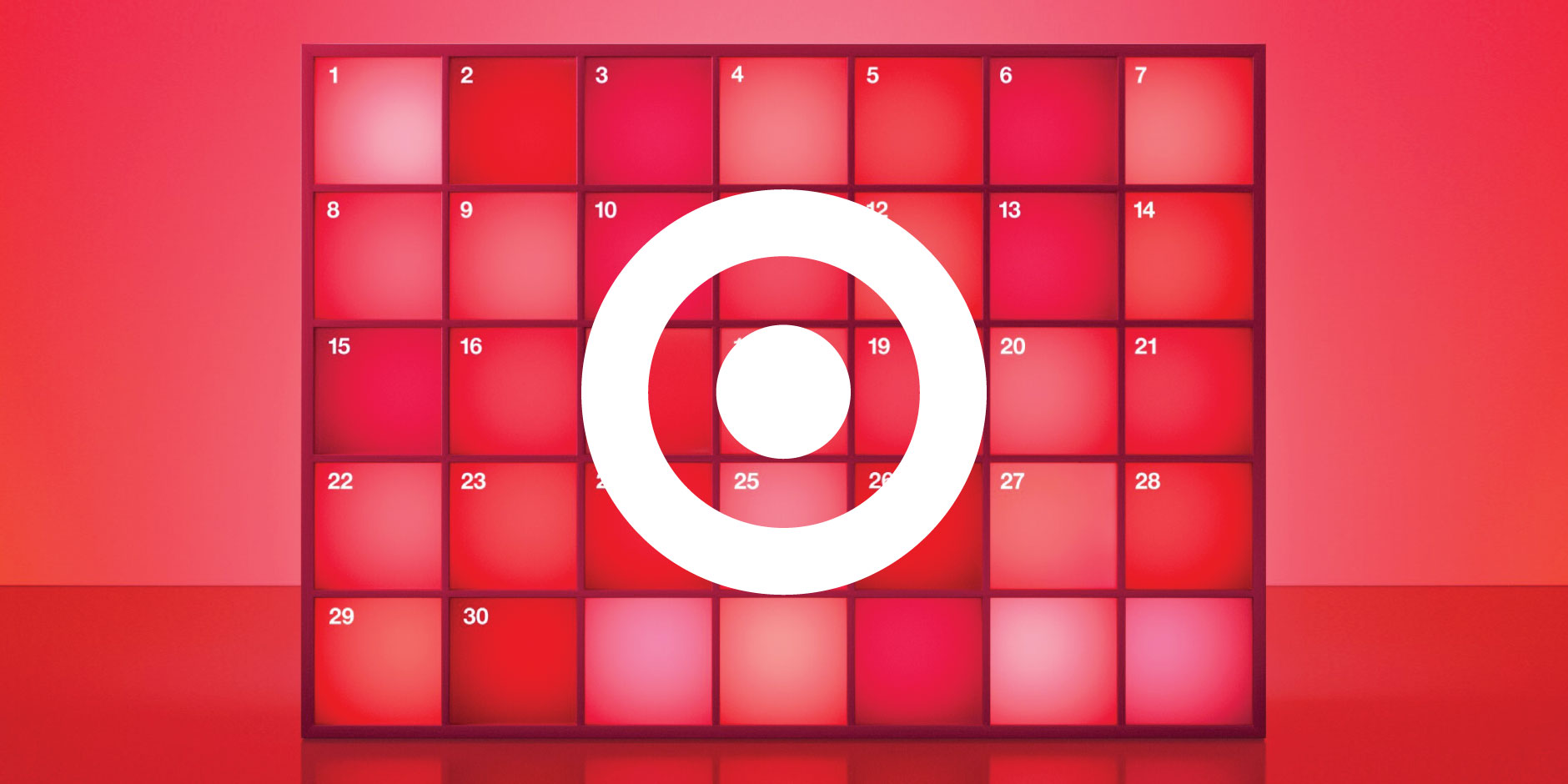 A white bullseye is overlaid onto a calendar page featuring red squares