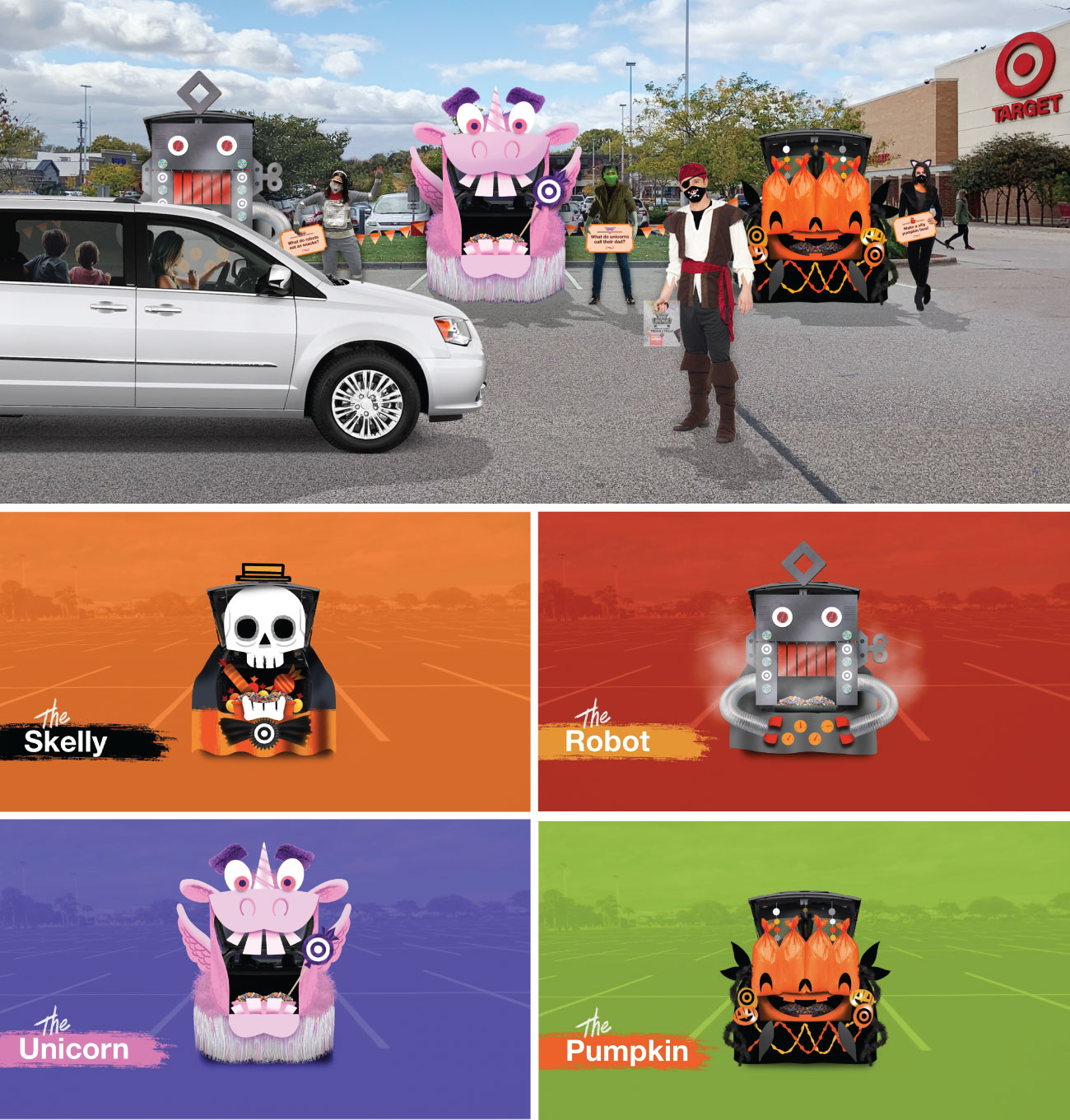 A photo collage shows a white car driving through a Target parking lot with decorated cars and people in costume, followed by close-up illustrations of four car characters.