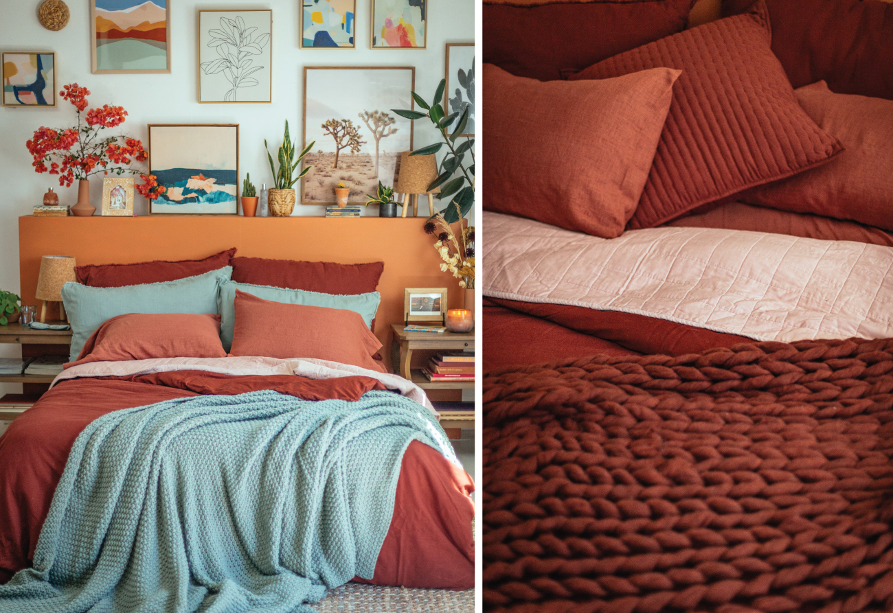 Two images show Casaluna bedding styled in rich, colorful layers.