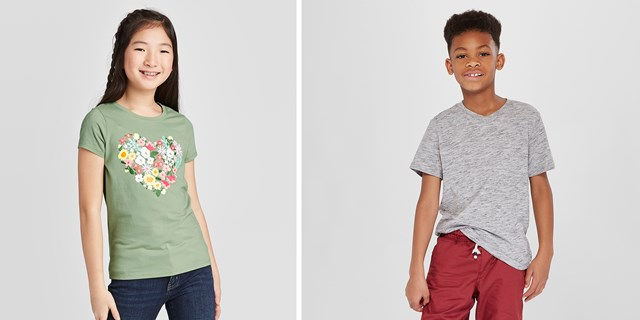 Two kids modeling styles from Target's Cat & Jack apparel line.
