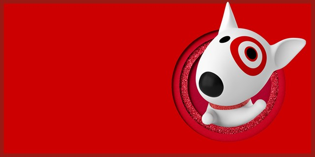 An illustration of Bullseye, a white bull terrier with a red collar and bullseye over his left eye, peeks out of a sparkly round window against a red background