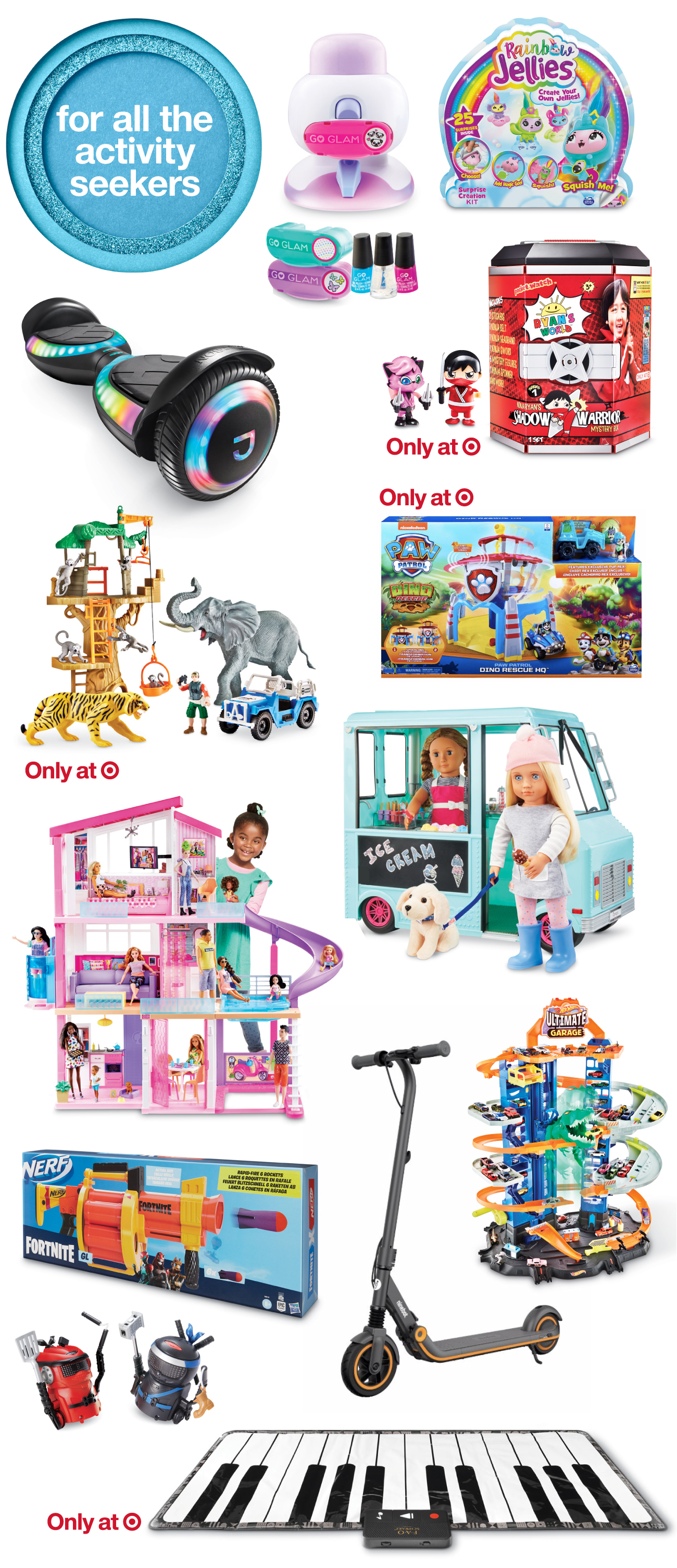 A collage of top toys and games for activity seekers