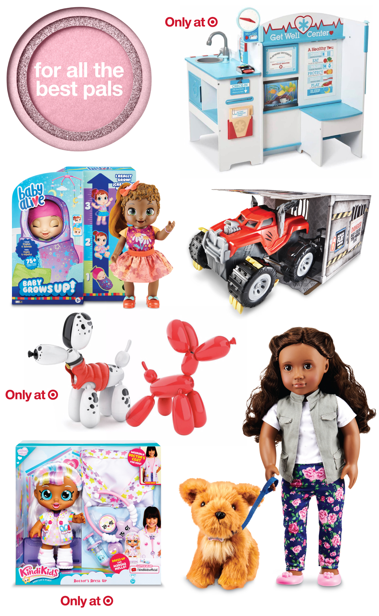 A collage of top toys and games for best pals