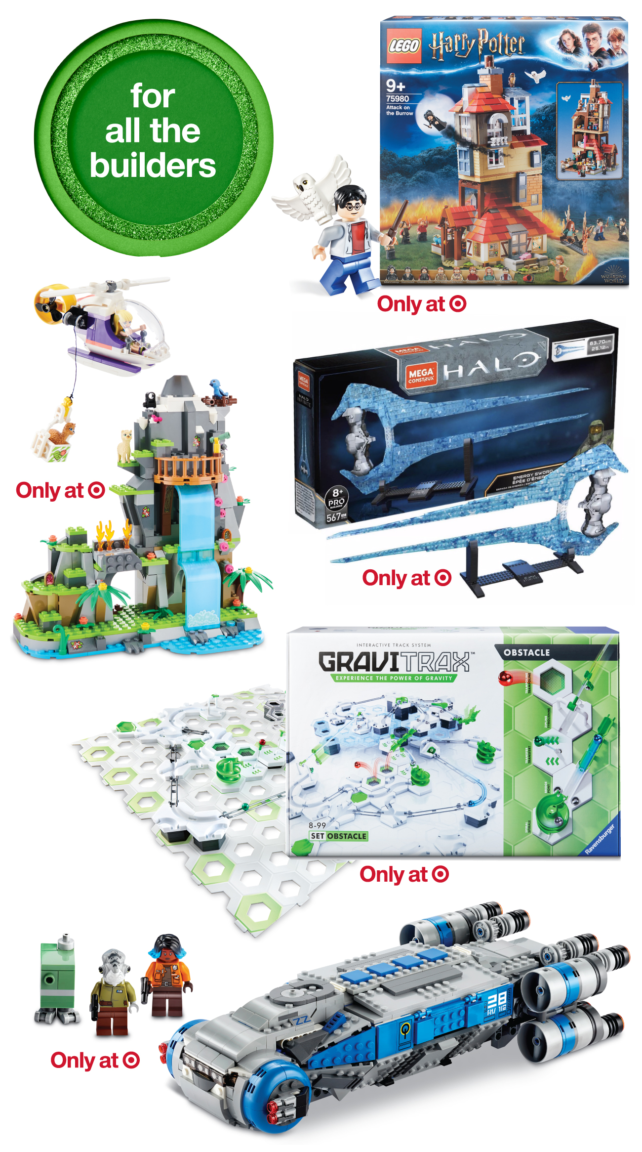A collage of top toys and games for builders