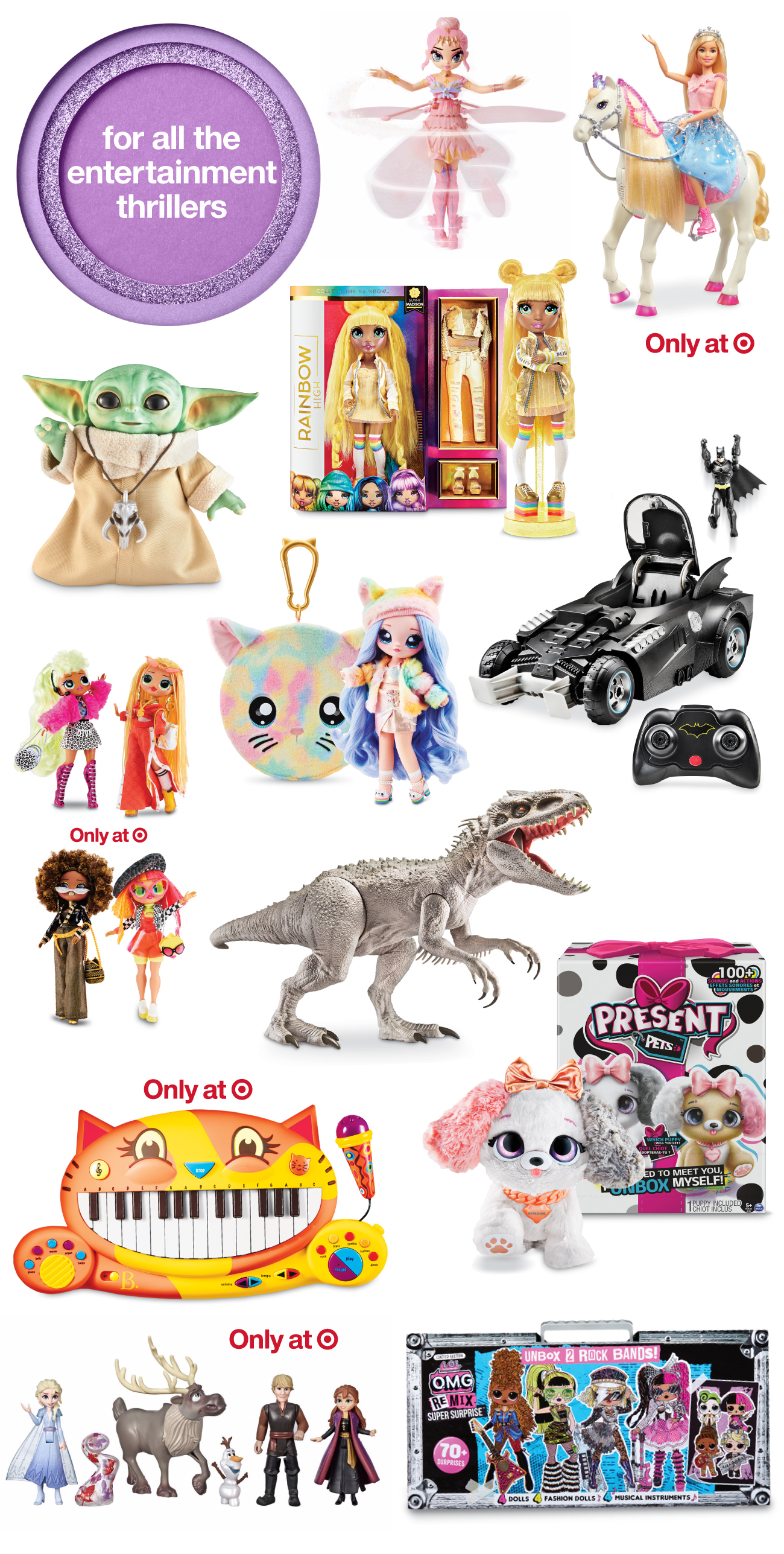 A collage of top toys and games for entertainment seekers