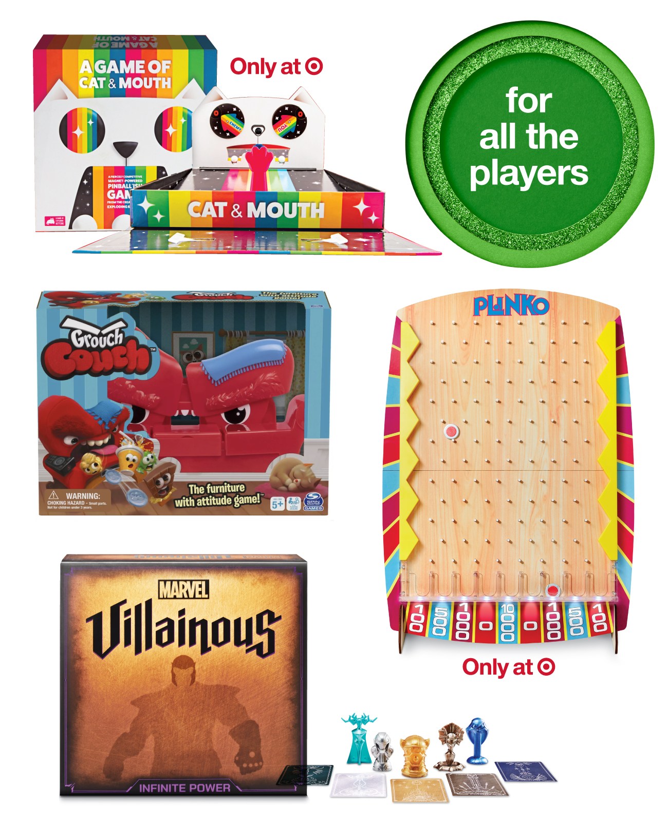A collage of top toys and games for players