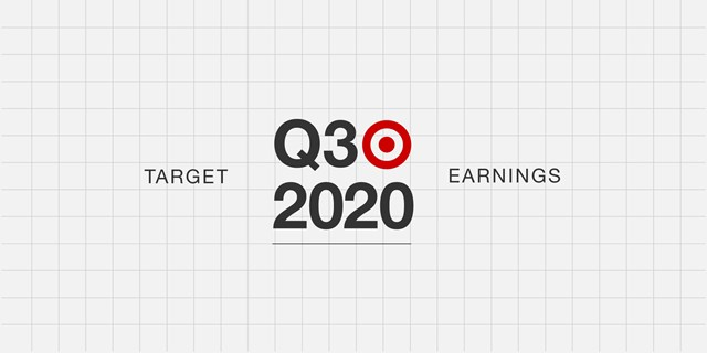 A grey grid background with red bullseye logo and black text that reads Target Q3 2020 earnings