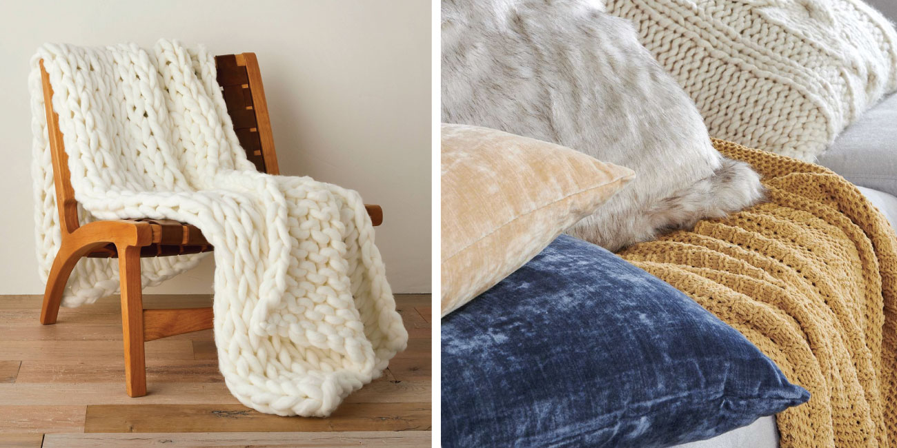 Two images show cozy throws in pillows in neutral colors