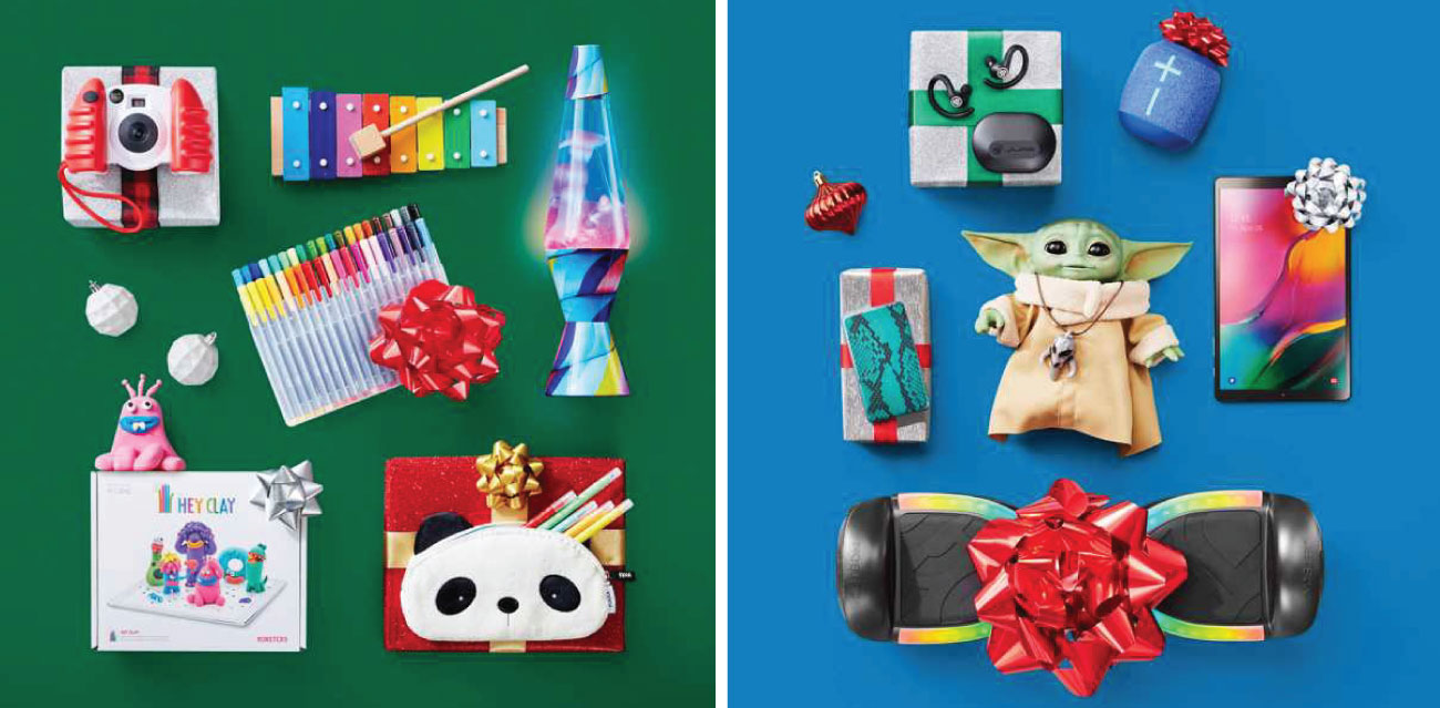 Two images show a variety of toys, many with bows