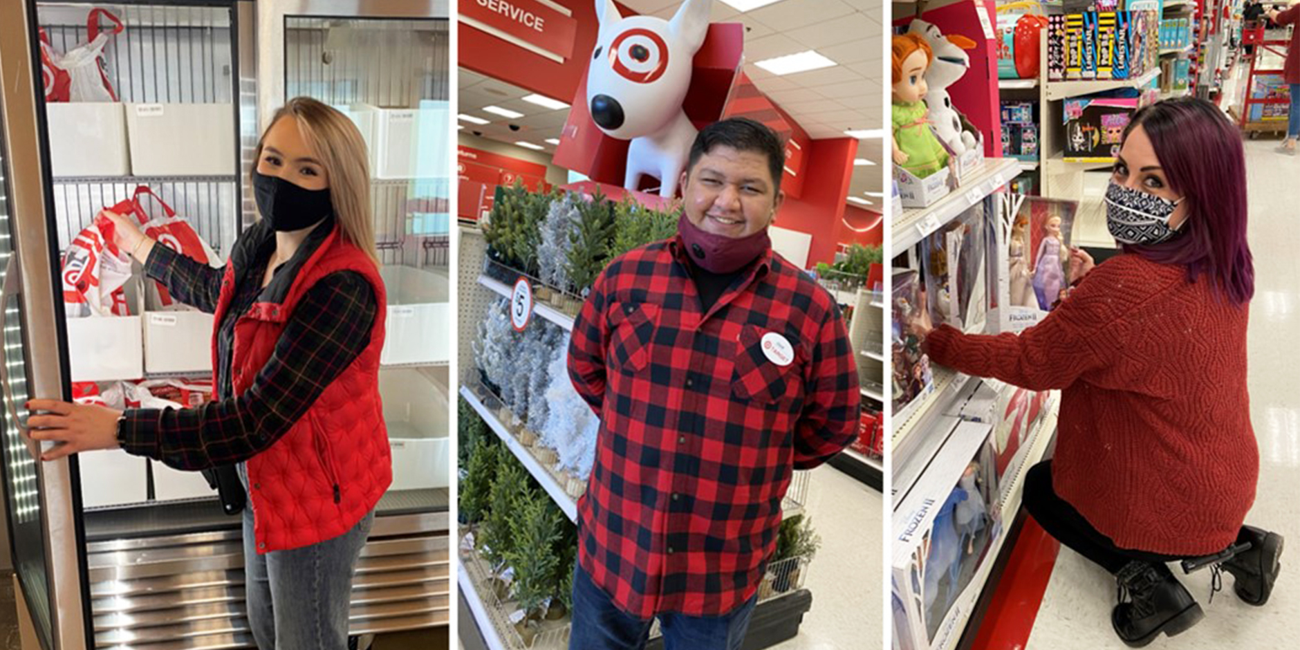 Three team members in red and denim outfits and masks perform their Target roles on the sales floor.