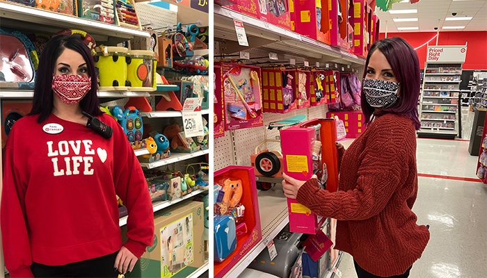 Two photos of Kacey, a team member wearing a red shirt and mask, working in the toy aisles.