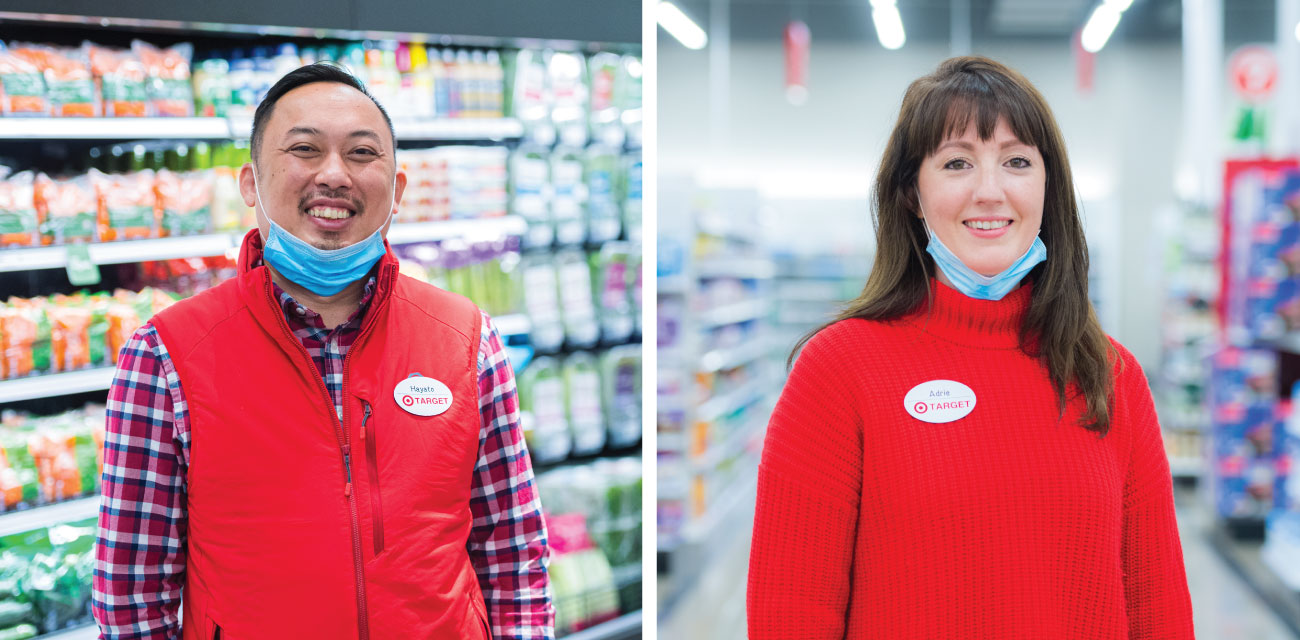 Two images. Left, a Target team member stands in front of a cooler filled with fresh vegetables. Right, a Target team member wearing a mask stands in the middle of an aisle with shelves of product in the background.
