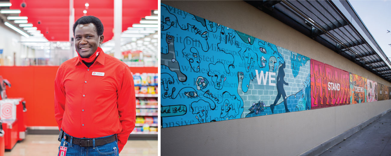 "Two images. Left, a team member stands in the self-checkout area at the Lake Street store. Right, a narrow banner made up of seven sections reading ""We Stand Together, We Build Together"" hangs on a grey exterior wall of the Lake Street store. Each section has one word of the phrase, with a background of unique drawings in shades of a single color."