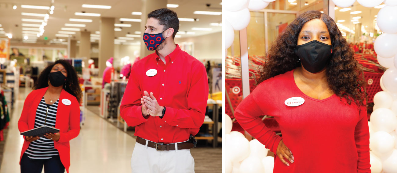 Two images. Left, a Target team member wearing a mask stands in an aisle with mannequins modeling clothing and shelves of apparel in the background. Next to him, another Target team member looks at him. Right, a Target team member wearing a mask stands in front of a ring of balloons with Target shopping carts in the background.