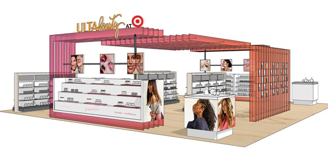 An illustrated rendering of an Ulta Beauty at Target sales floor space with shelves of featured products and interactive displays