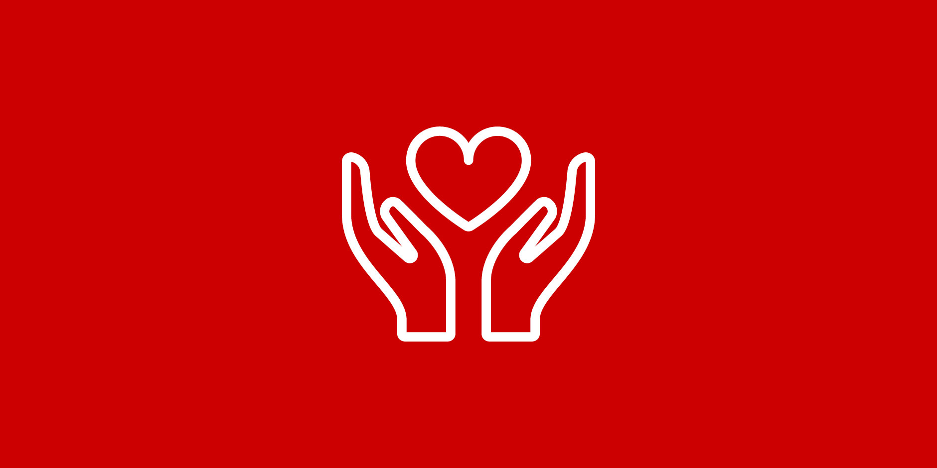 A white outline of two hands holding a heart on a red background.