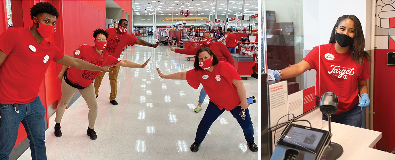 A two-image collage shows team members in red shirts and masks doing a socially-distant high five and a team member in red shirt, mask and gloves smiling at a guest services counter