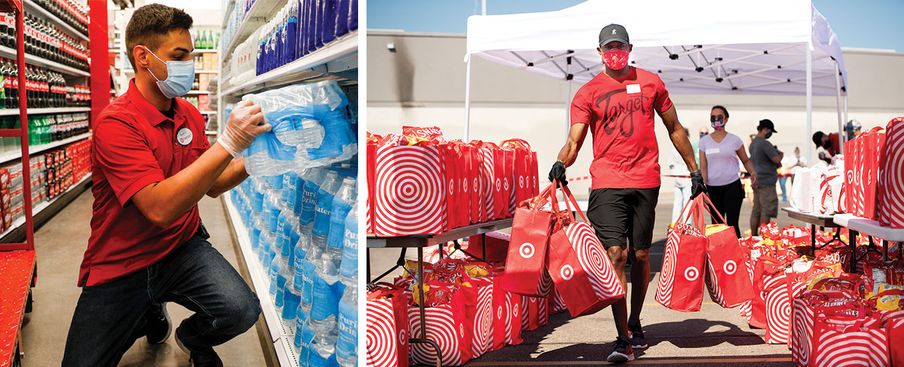 A two-image collage shows a team member in red shirt and mask stacking water bottle pallets on a shelf and a team member in red shirt and mask carrying red Target bags of food outside near a white tent