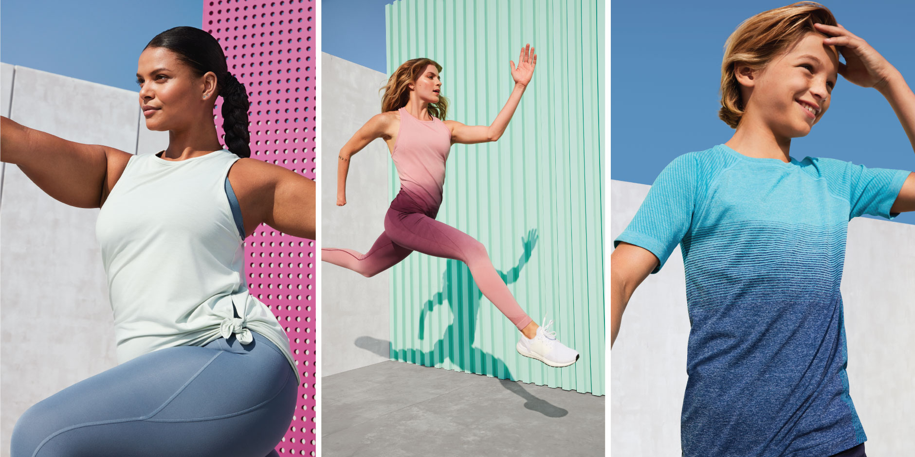 A three-photo image collage shows two women and a young boy jumping and running in activewear