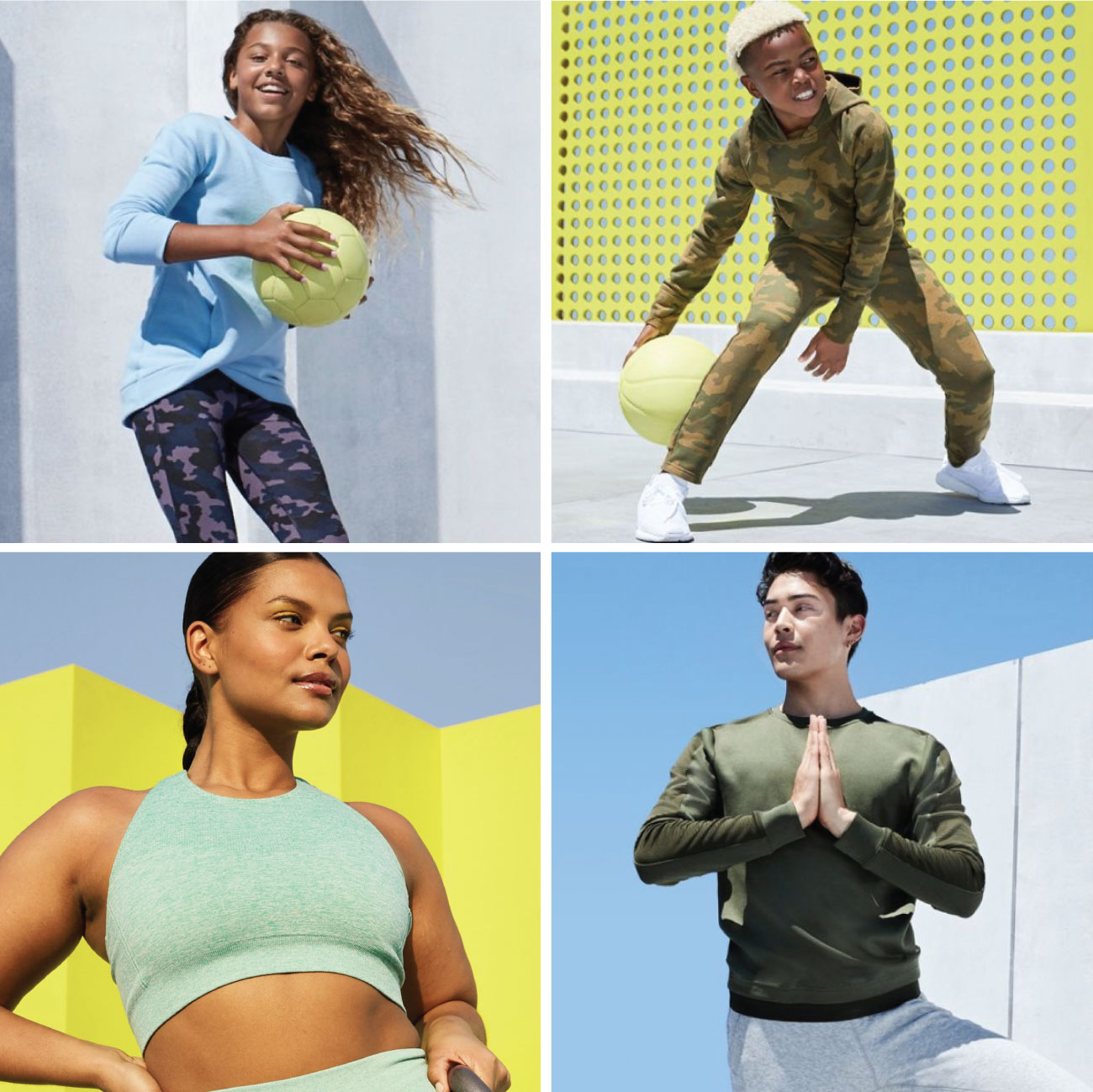 A four-image photo collage shows men, women and kids posing in activewear