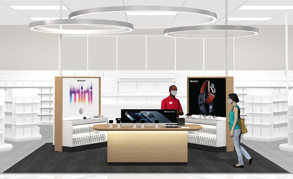 An illustration of the new Apple experience inside a Target store, featuring displays of electronics products on shelves around a central station with a team member in a mask helping a guest wearing a mask.