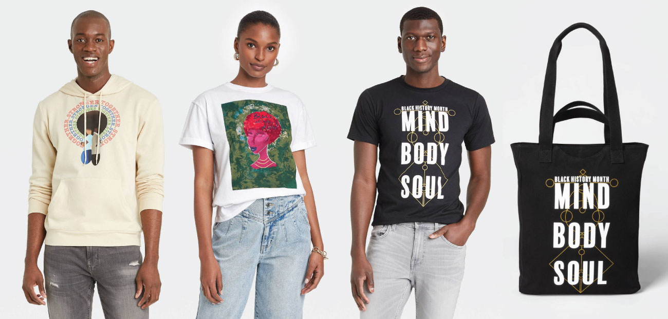 """Three models wear three different shirts in different colors. At right, a black tote bag with the words """"Black History Month"""" and """"Mind Body Soul"""" in white on the front."""