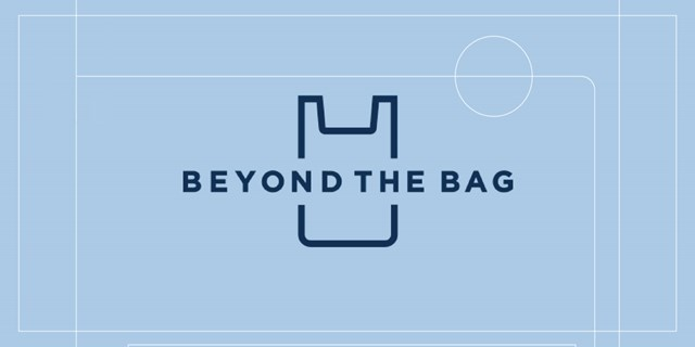 "Blue text on a light blue background: ""Beyond the Bag;"" with an outline of a plastic bag as part of the logo."