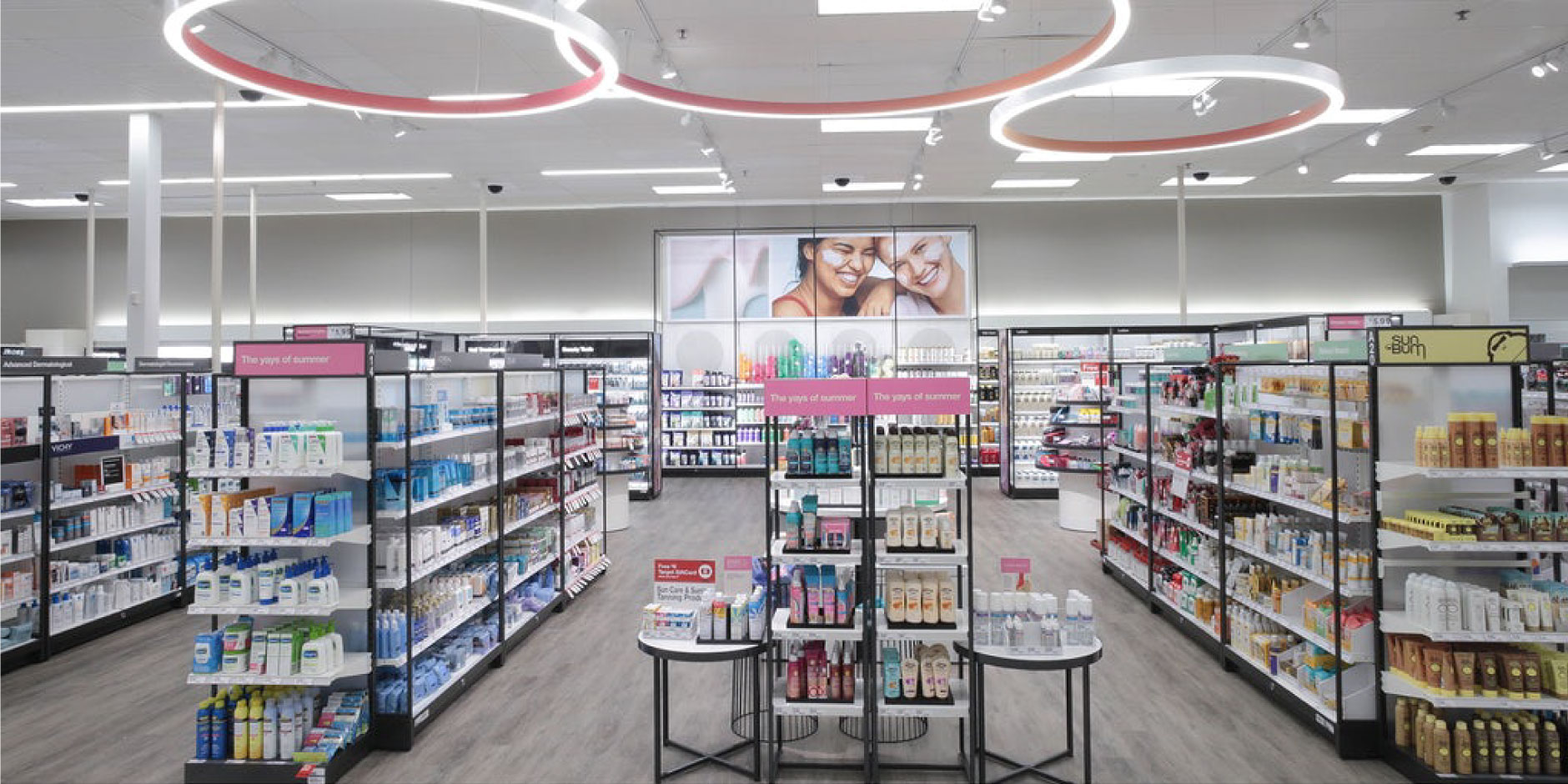 A full, colorful display of beauty and grooming products in a Target store