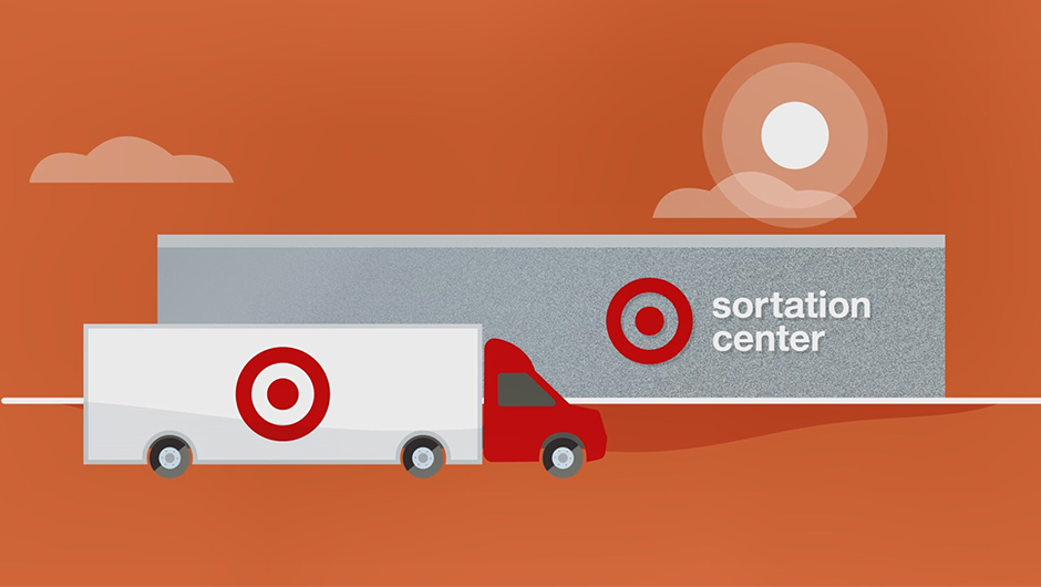 Illustration of a truck in front of a building labeled 'Sortation Center.'