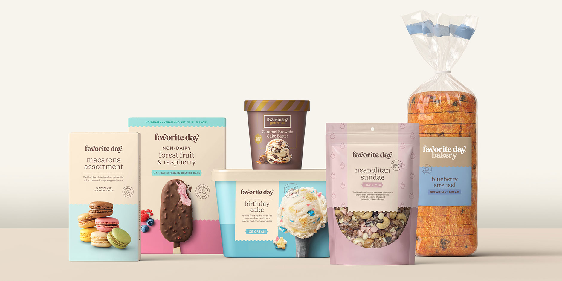 A collage shows six different Favorite Day products, from macarons and premium ice cream to trail mix, in colorful pastel packages
