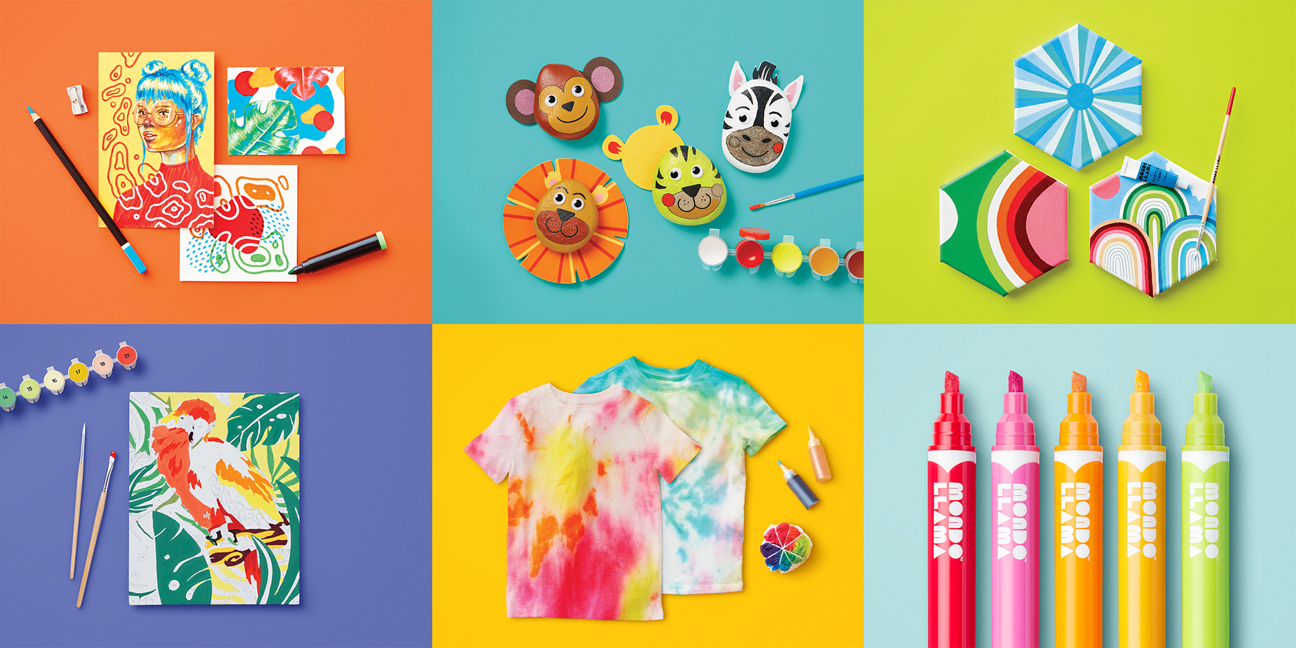 Six multicolored panels showing different crafts guest can make with the products, including wall art, tie-dye shirts, paper animal heads and more.