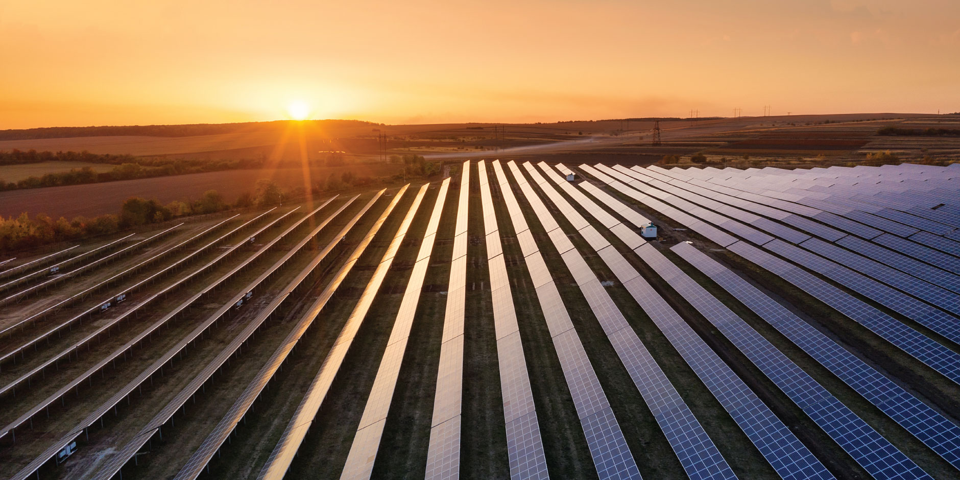 Rows of solar panels in a field with the sunset in the background