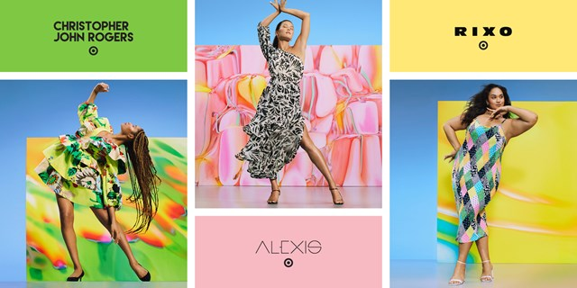 In a photo collage, three women jump, twirl and dance, modeling a series of colorful dresses alongside logos for Target, Christopher John Rogers, ALEXIS and RIXO