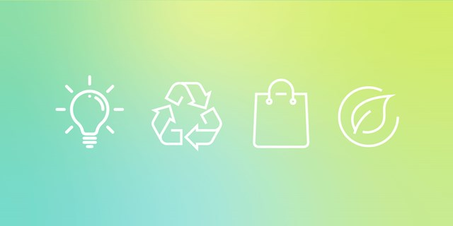 Four icons (light blub, recycle, a bag and a leaf) against a green and yellow gradient background.