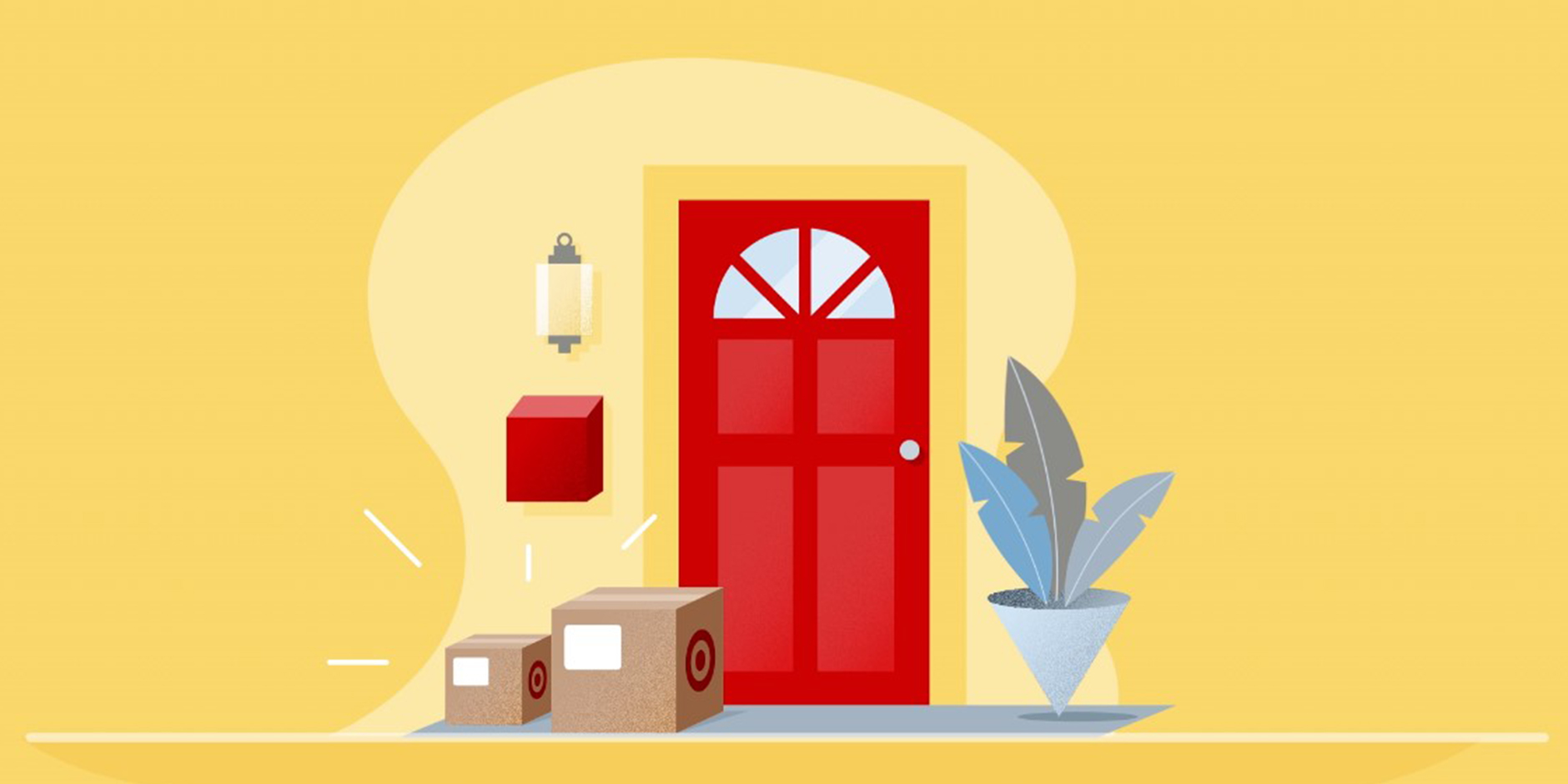 An illustration of two Target packages on a doorstep against a yellow background