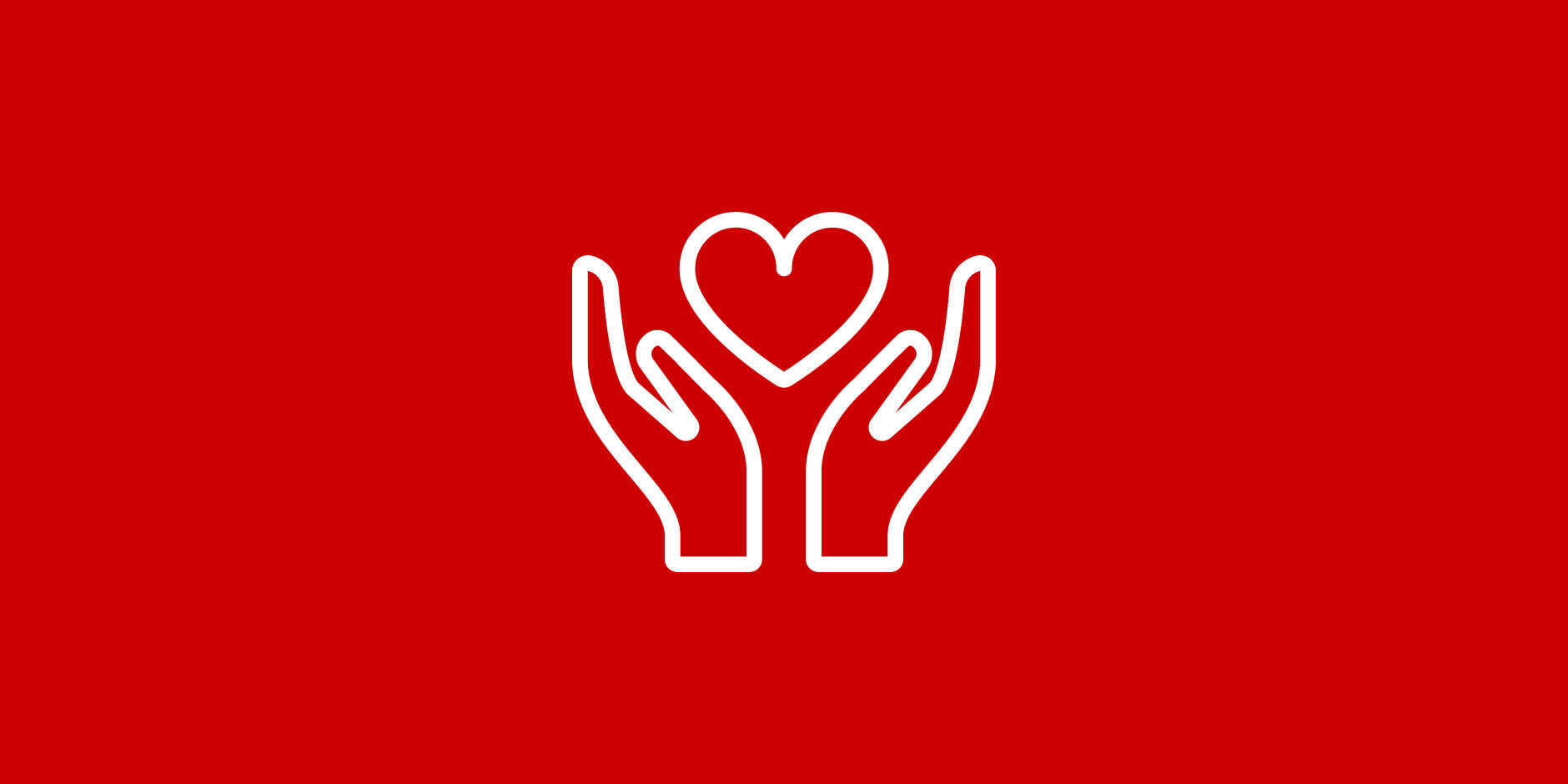 An illustration of two hands holding a heart in white outline against a red background