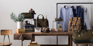 Menswear products on table