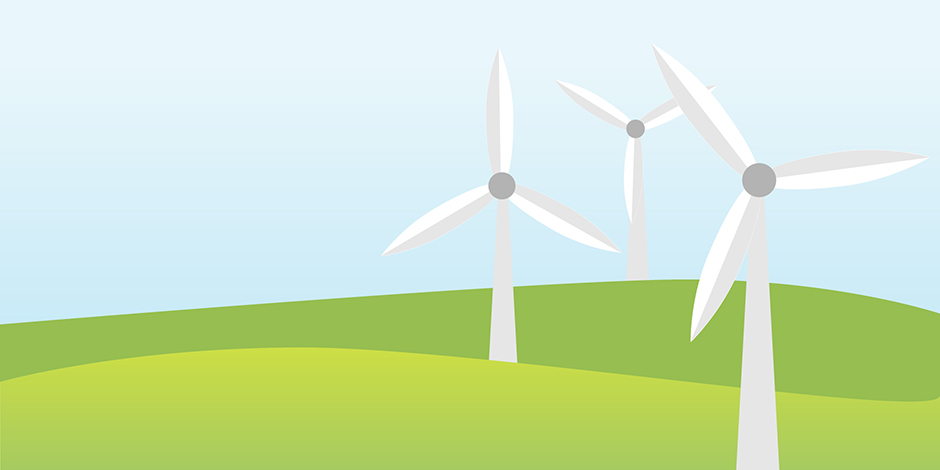 An illustration of three wind turbines on a green hill