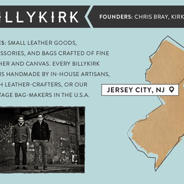 Billy Kirk founders Chris Bray, Kirk Bray. Small leather goods and accessories. Jersey City, NJ.