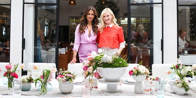 Camila Aves and Emily Henderson at a springtime blogger brunch in L.A